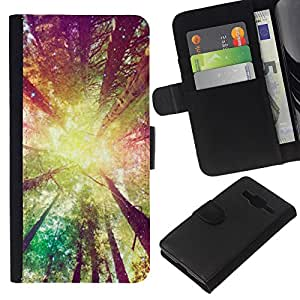 KingStore / Leather Etui en cuir / Samsung Galaxy Core Prime / Jaune Soleil Ray Summer