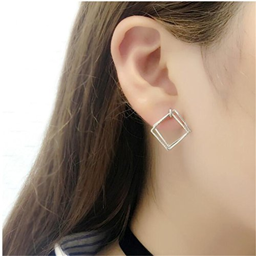 - Tmrow 1pair Geometric Cutout Diamond Shaped Dangle Drop Diamond Earrings