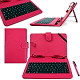 DURAGADGET Pink Faux Leather Protective Case with Micro USB Keyboard & Built-In Stand for Kurio 7S 2013 Version / Kurio 7X 4G LTE - Includes BONUS Stylus Pen!