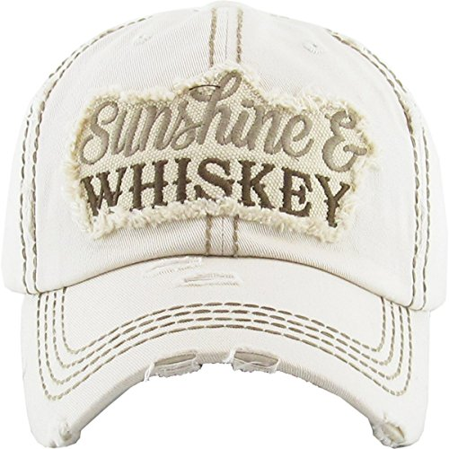 (H-212-WHISKEY60 Distressed Dad Hat Baseball Cap - Sunshine/Whiskey (Beige))