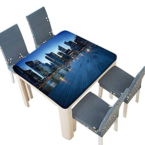 PINAFORE Table in Washable Polyeste Singapore City in Sunset time Banquet Wedding Party Restaurant Tablecloth 69 x 69 INCH (Elastic Edge) ()