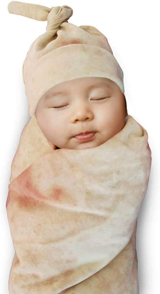 Burrito Wrap Novelty Blanket with Hat for baby, tortilla blanket for baby(33'' 85cm)