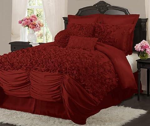 Lush Decor Lucia 4-Piece Comforter Set, King, Red