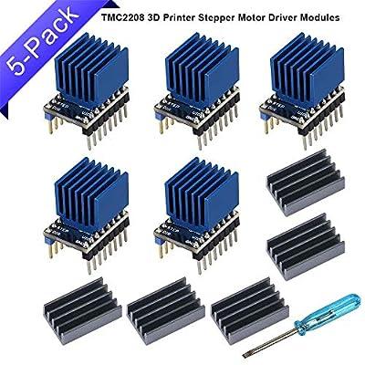GeeekPi 5 Pack TMC2208 V2 3D Printer Stepper Motor Driver Modules with Heatsinks, 3D Printer Motherboard Accessories, Replace TMC2100 for 3D Printer Parts