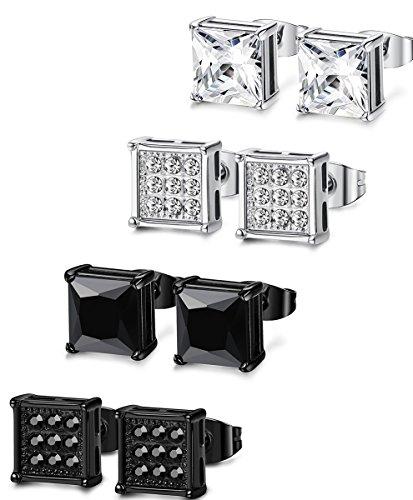 FIBO STEEL 4 Pairs Stainless Steel Stud Earrings for Men Women Square Earrings CZ Inalid,6-8MM FIBO STEEL