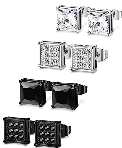 (FIBO STEEL 4 Pairs Stainless Steel Stud Earrings for Men Women Ear Piercing CZ Inalid,6MM)