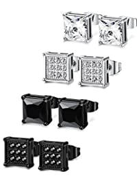 Thunaraz 4 Pairs Stainless Steel Stud Earrings for Men Women Ear Piercing CZ Inalid,6MM