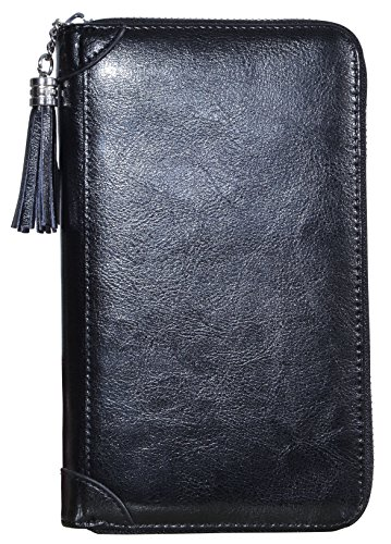 Yuhan Pretty Womens Credit Card Holder Wallet RFID Leather Small ID Card Case (60 Card Slots - Black) by Yuhan Pretty (Image #1)