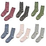 Women's 6-Pack Ribbed Crew Socks Slouch Socks