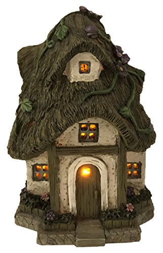 - Fairy Garden Cottage with Thatched Roof - Vines and Lights