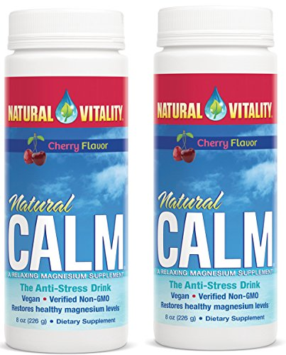 Natural Vitality Natural Magnesium Calm, Cherry (2 Bottles of 8 Ounce) -