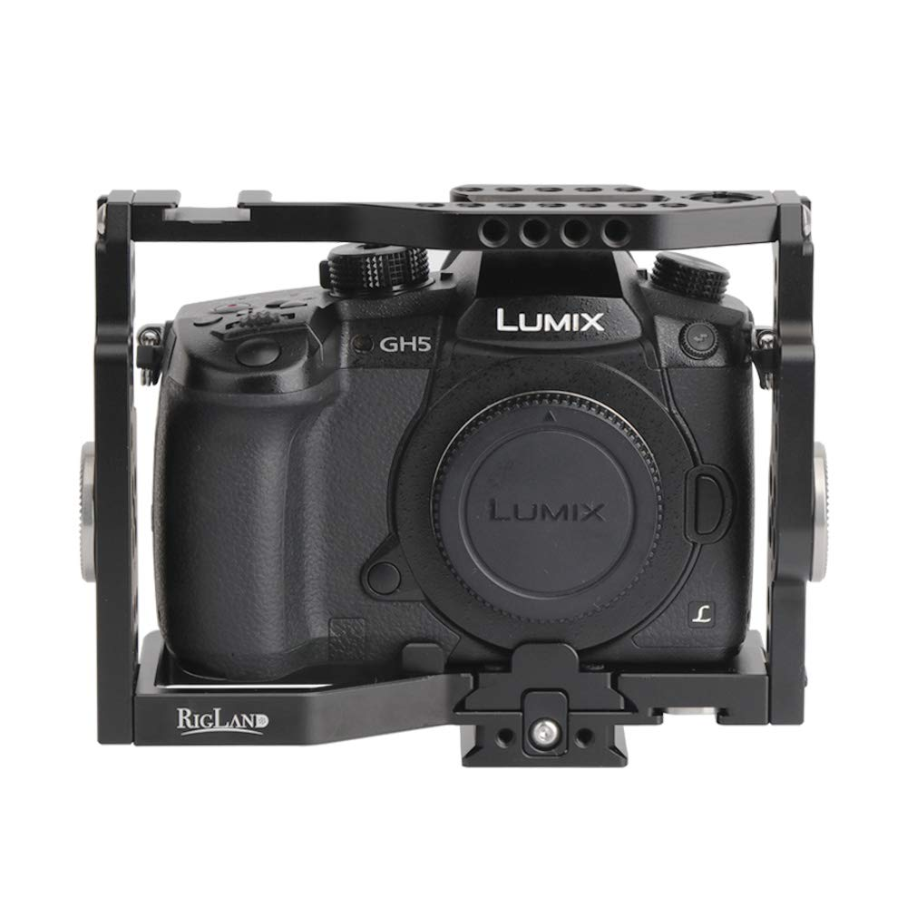 RigLand GH5 Cage for Panasonic GH4 / GH5 / GH5S, Camera Cage with Built-in Quick Release Plate and Rosette Mount for Panasonic GH5 / GH5S / GH4-679