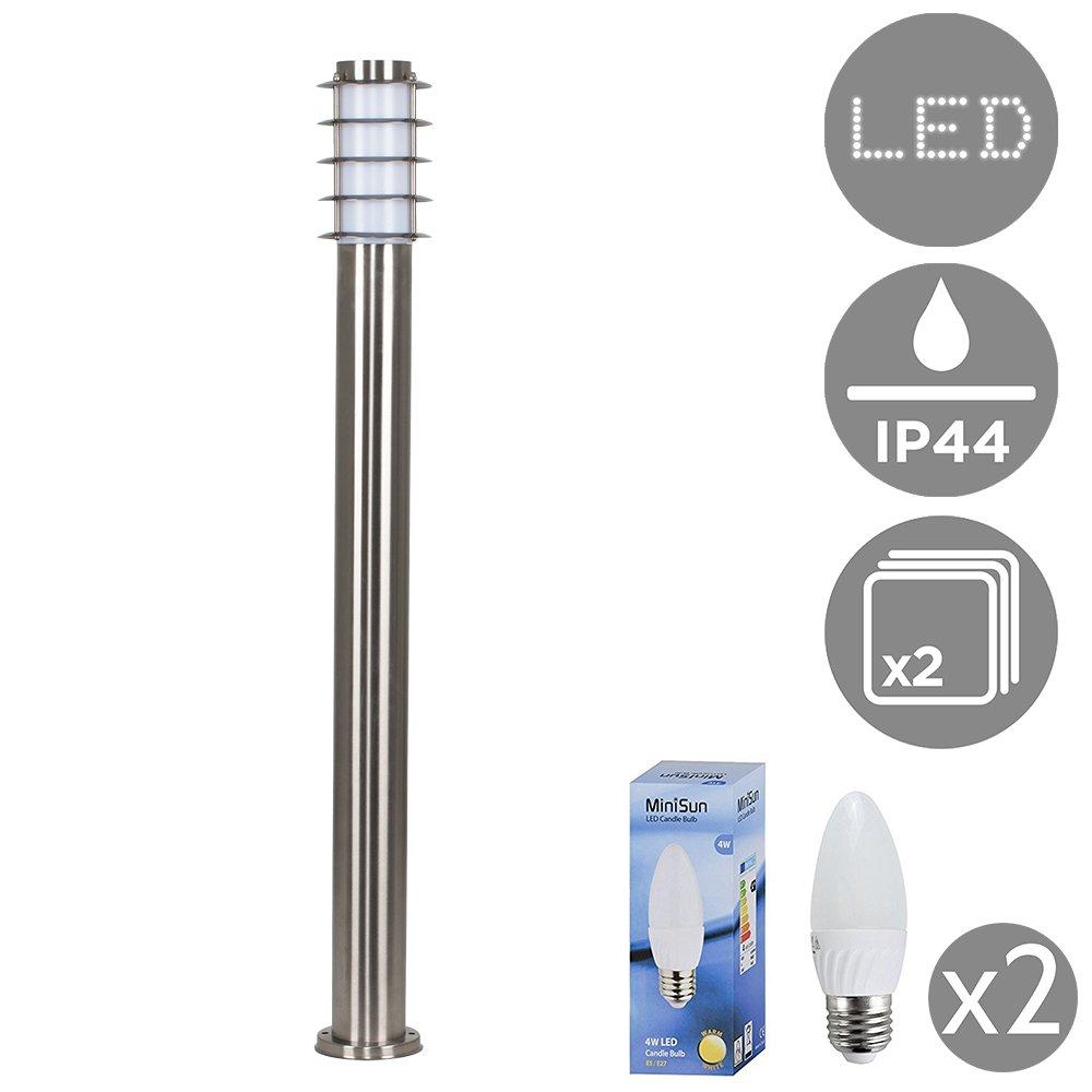4 x Modern Outdoor Stainless Steel Bollard Lantern Light Posts - 1 Metre MiniSun