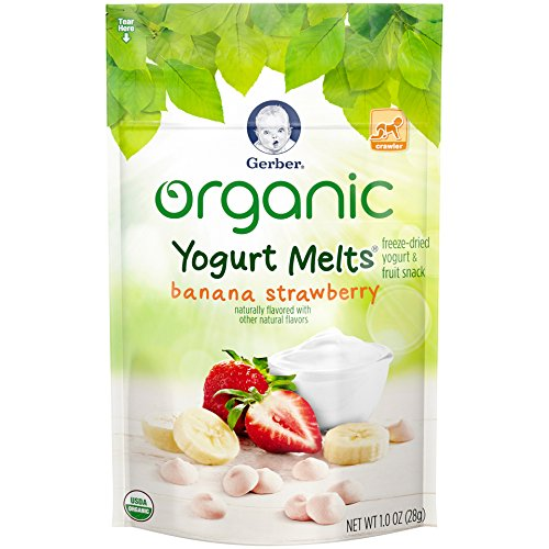 Gerber Organic Yogurt Melts Fruit Snacks, Banana and Strawberry, 1 Ounce (Pack of 7)