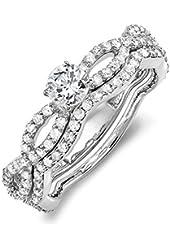 1.00 Carat (ctw) 14k White Gold Round Cut Diamond Ladies Bridal Ring Engagement Wedding Band Set 1 CT