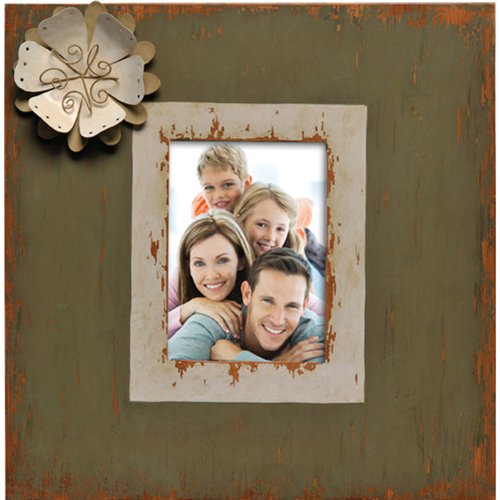 Caffco International Metal Picture Frame with Flower Magnet Memorabilia Holder, Holds a 5 by 7-Inch Photo, Distressed Ivory and Green