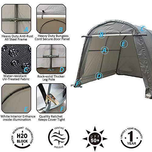 kdgarden Heavy Duty Portable Storage Shelter 10 x 10 - Feet Outdoor Canopy Garage Tent, with 6 Steel Legs and 4 U-Type Ground Stakes for Stability, Round Top Style, Gray with White Interior