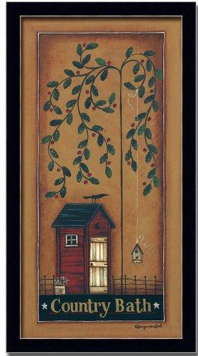 Country Bath Room Decor Folk Art Primitive Print Framed