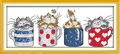Eafior DIY Cross Stitch Kits Handmade Needlework Embroidery Kits The cat in the cup printed design Home Decoration Wall Decor 37x17cm(No frame)
