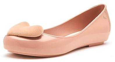 1cd69575cb95 Zaxy Pop Heart Flock Ballerina Slip On Flat Jelly Shoes in Blush Nude  82540  Amazon.co.uk  Clothing