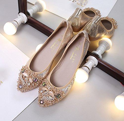 気質はダイヤモンドの靴を指し、ママフラットカジュアルシューズ、キツネの装飾卵ロールの女の子の靴