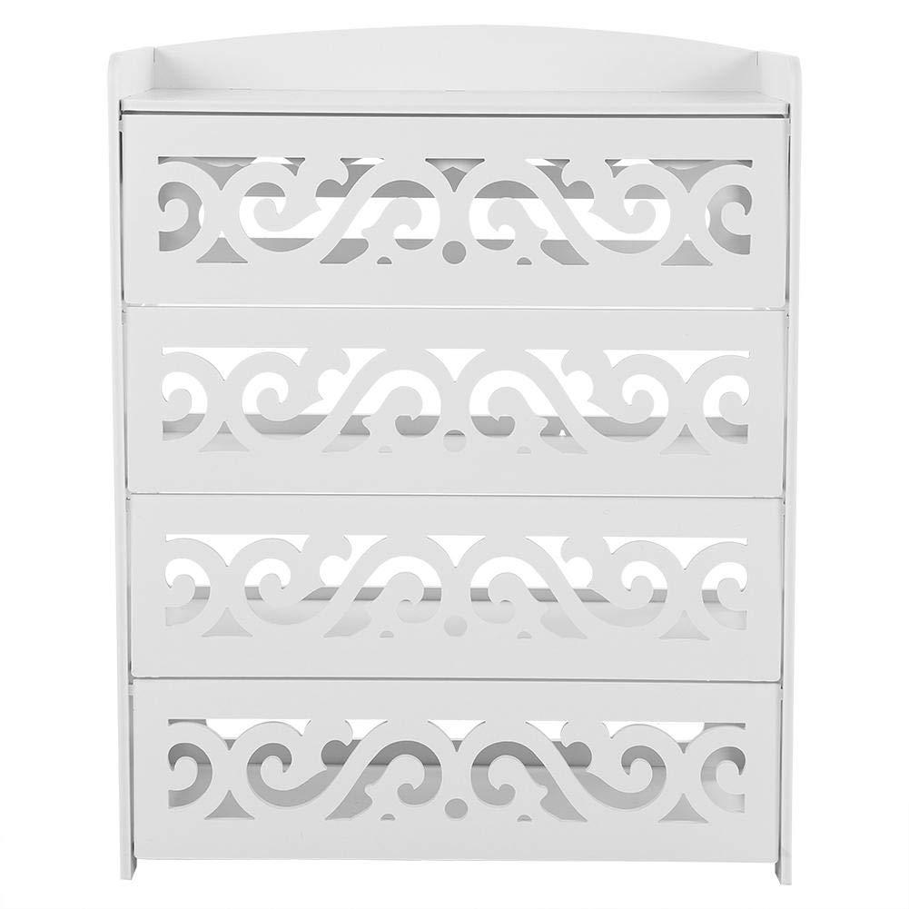 Yosooo 4-Tier Baroque Wood Plastic Board Shoe Cabinet,Storage Shelf Rack Organizer Cupboard with Flip Door(White )
