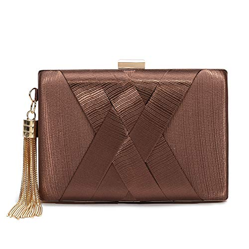 Women's Evening Clutch Bag Stain Fabric Bridal Purse For Wedding Prom Night Out Party (Coffee)