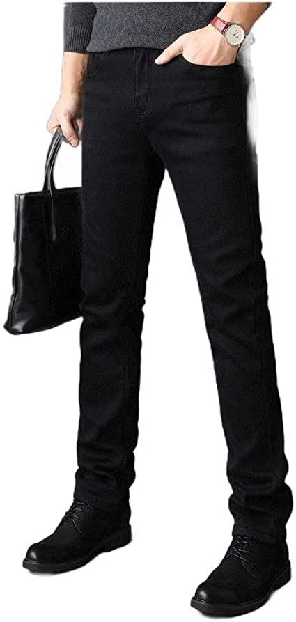 AngelSpace Men Fall Winter Relaxed-Fit 5-Pocket Denim Pants Big & Tall Straight Jean