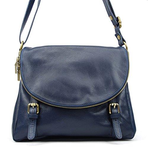 OH MY BAG Borsa pelle donna - Modello Pearl - Borsa di cuoio piena a tracolla Blu scuro