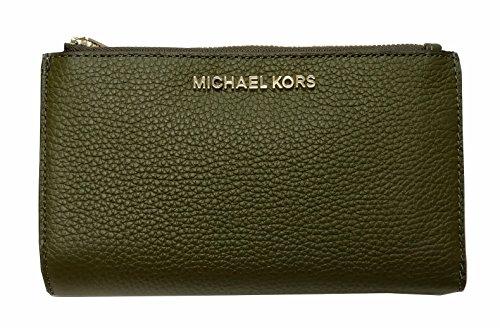 Michael Kors Jet Set Travel Double Zip Leather Wristlet (Michael Kors Olive)