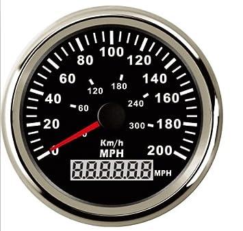 Resistente al agua GPS velocímetro odómetro 0 - 200 mph 0 - 300 km/h para coche motocicleta Racing con retroiluminación 85 mm 12 V/24 V: Amazon.es: Coche y ...