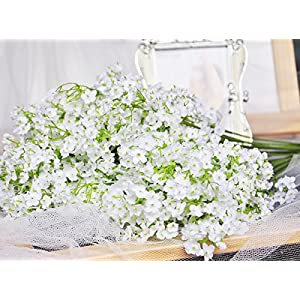 LeLehome Baby Breath/Gypsophila Wedding Decoration White Colour Real Touch Pu Flowers 9