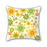 NICEPLW 20 x 20 inches / 50 by 50 cm flower pillow cases ,each side ornament and gift to bf,lounge,birthday,kids room,lover,boy friend