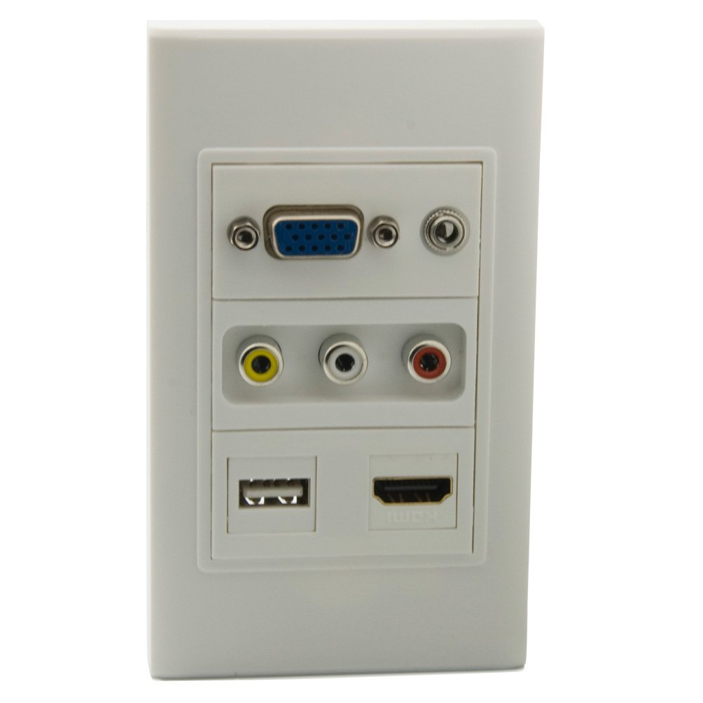 YinXiong Single Gong VGA 3.5mm Stereo Audio 3RCA AV HDMI USB With Female To Female Style Wall Plate (F-F Style, White)