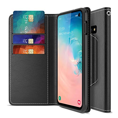 Maxboost Galaxy S10e Case mWallet Series Designed for Samsung Galaxy S10e [Stand Feature] [PowerShare Friendly] Galaxy S10E Case Credit Card Wallet (Black) w/Card Slot Side Pocket Magnetic Closure