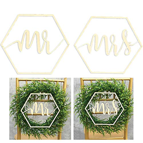 Coxeer 2PCS Wedding Chair Sign Wood Decorative Wedding Hanging Sign Wedding Chair Decor