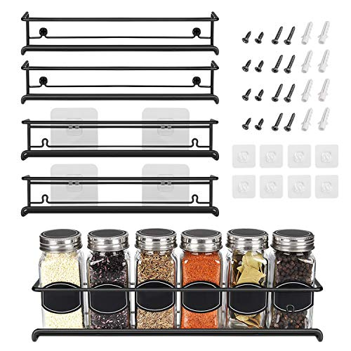 Spice Rack Organizer For Pantry -Kitchen Cabinet Door Organization And Storage – Set of 4 Tiered Hanging Shelf for Spice…