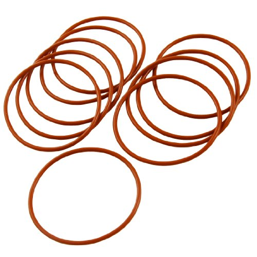 UPC 608641832808, uxcell 48mm x 2mm Silicone O Ring Oil Sealing Washers Grommets Red 10 Pcs