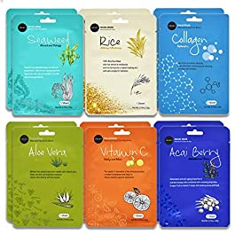 Celavi Essence Facial Face Mask Paper Sheet Korea Skin Care Moisturizing 12 Pack (Mix – 2 of Each)