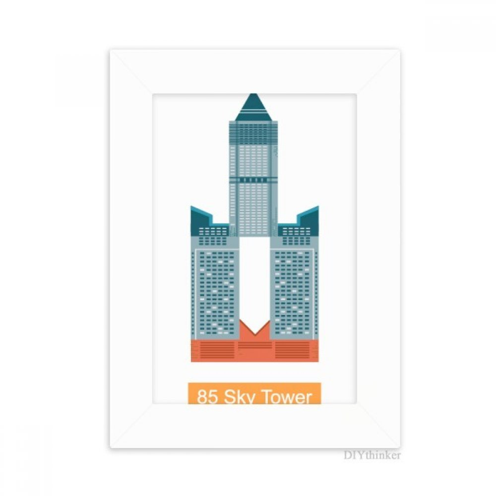 DIYthinker Taiwan Hotel 85 Sky Tower Desktop Photo Frame Picture White Art Painting 5x7 inch