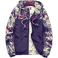 Momtuesdays2 Floral Bomber Jacket Men Hip Hop Slim Fit Flowers Bomber Jacket Coat Men's Hooded Jackets Plus Size