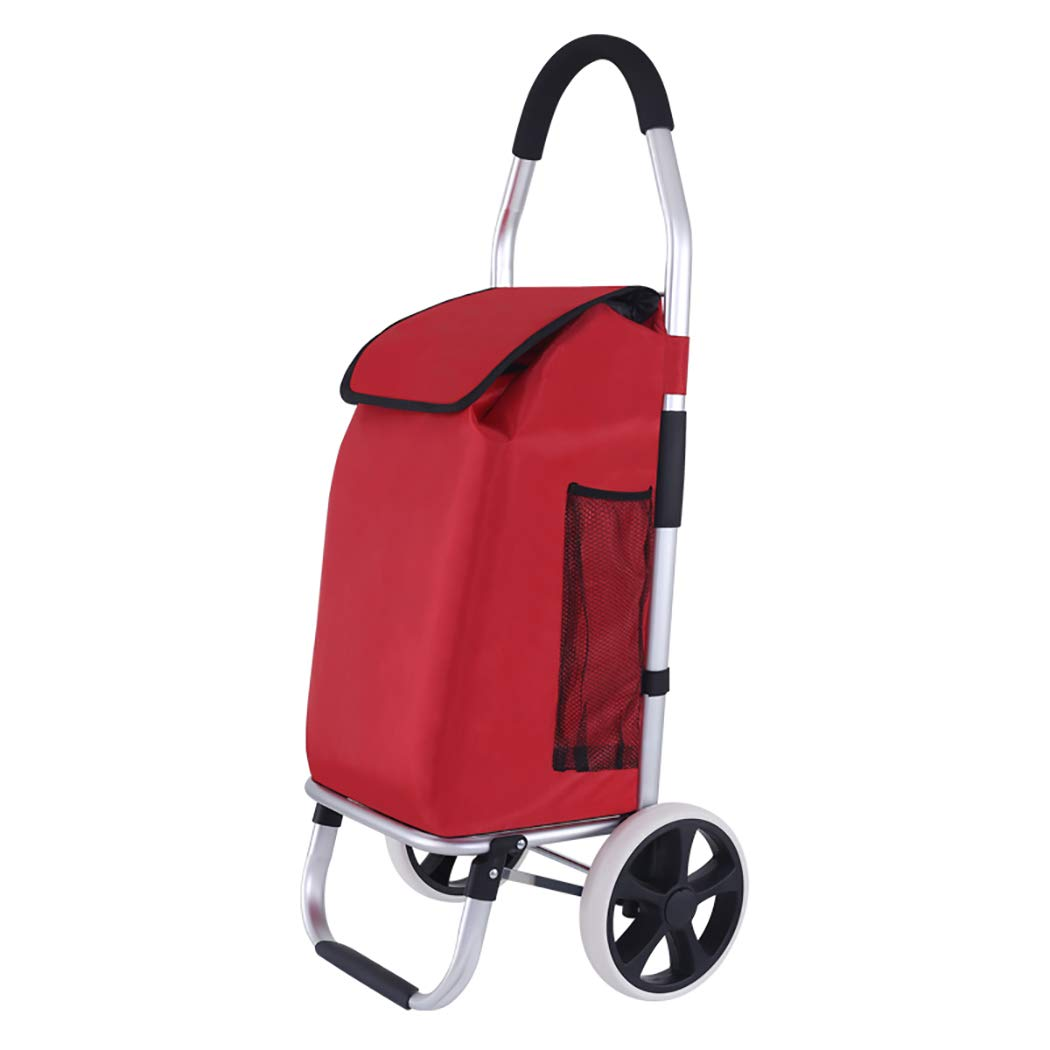 YGUOZ 2の1 折りたたみ ショッピングカート、2 輪、大 ショッピングキャリーカート ショッピングキャリー、買い物カート 軽量、静音(45L),red  red B07MV79L6L