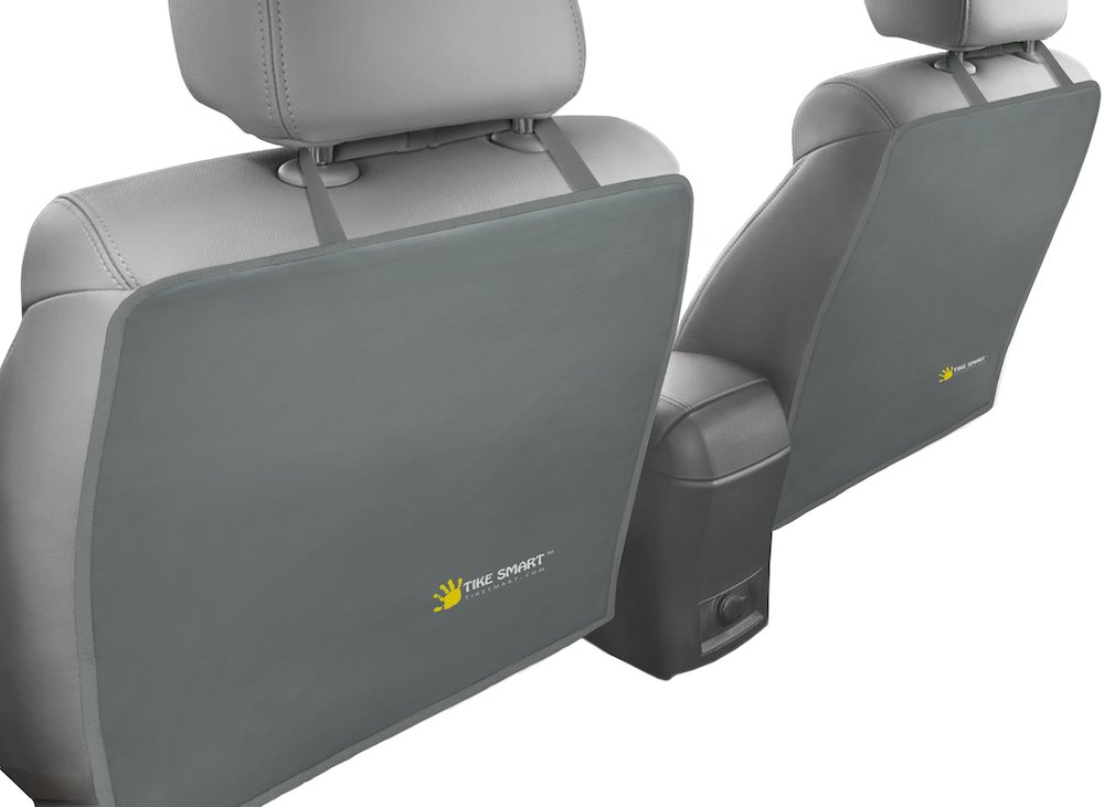 Tike Smart Premium Kick Mats - Luxury Seat Back Protectors and Seat Covers with Invisible Strap - 2-Pack - Gray (Grey)