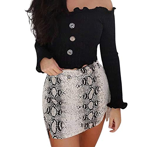 Iuhan Ladies Ruffle Cropped Tops, Womens Off Shoulder Long Sleeve Ruched Crop Tops Button Slim T-Shirt Basic Tops