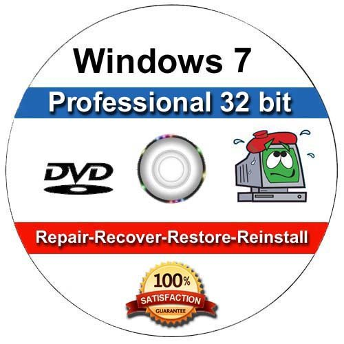 Windows 7 Professional 32-Bit Install | Boot | Recovery | Restore DVD Disc Disk for Install or Reinstall of Windows (Windows Disk Reinstallation)