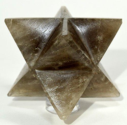 "HC Set: 2.5"" 90g Smoky Quartz 8 Point Merkaba Star Natural Sparkling Crystal Smoky Topaz Polished Mineral Stone Star - India + One Polished Clear Quartz Cabochon"