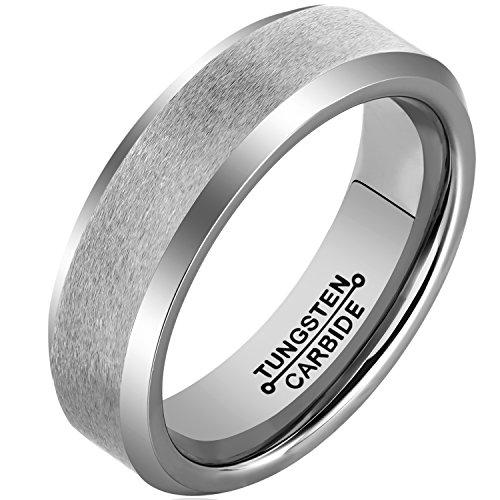 Edge Designer Wedding Ring (MNH Rings for Men Tungsten 6mm Wedding Engagement Band Matte Finish Beveled Polished Edge Comfort Fit )