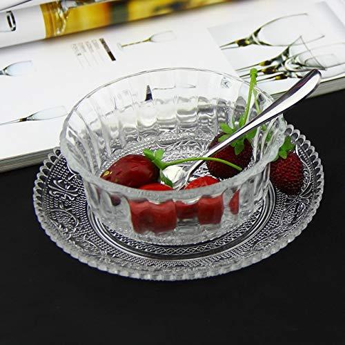 L XuBa Transparent Glass Bowl + Plate Small Salad Bowl jam ice Cream Dessert Bowl Set L