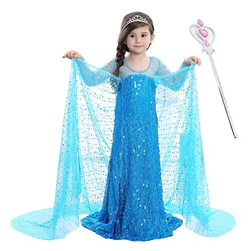 Halloween Kids 2021 Summer Girls Dress Vestido de Princesa de Manga Corta para niños Bleu]()