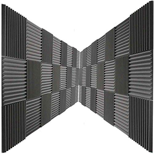 "48 Pack Acoustic Panels Studio Foam Wedges 1"" X 12"" X 12"" Color: Charcoal"